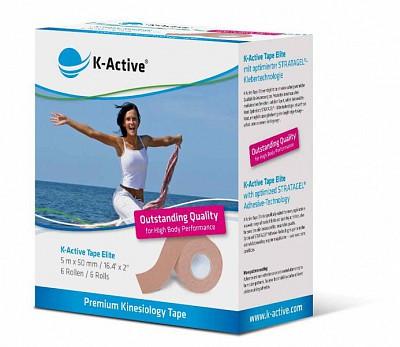 Кинезио Тейп K-Active Elite 5см х 5м  бежевыйКинезиологический тейп K-Active Elite.&#13;<br>&#13;<br>Размер 5см х 5 м. 6 штук в упаковке.&#13;<br>&#13;<br>Идеально подходит для нежной и чувствительной кожи. Прекрасно подходит для использования в косметологии, педиатрии и стоматологии.<br>