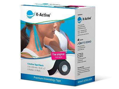 Кинезио Тейп K-Active Classic 5см х 5м голубойK-Active Tape &amp;ndash; кинезиотейпы представляют собой эластичные ленты, изготовленные из высококачественного хлопка и покрытые гипоаллергенным клеящим слоем на акриловой основе, который активизируется при температуре тела.&#13;<br>&#13;<br>Эластические свойства тейпов приближены к эластическим параметрам кожи.&#13;<br>&#13;<br>Хлопковая основа не препятствует дыханию кожи и испарению с ее поверхности.&#13;<br>&#13;<br>Эти свойства позволяют использовать тейпы в водных видах спорта, а также оставлять наклеенными на кожу до 5 суток.<br>