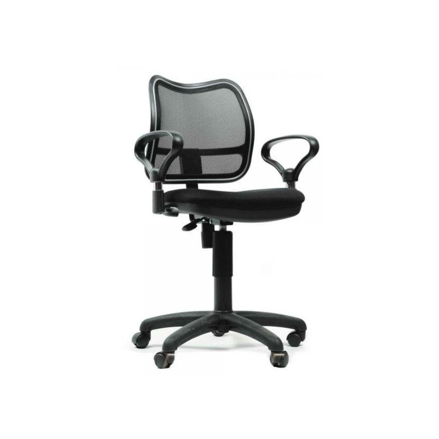 Офисное кресло Chairman 450 TW-11 чёрноеПростое и стильное решение. Эргономичное кресло необычной формы обеспечит максимально удобную посадку. Подстроится под любой вес и комплекцию пользователя. При необходимости сиденье можно отрегулировать по высоте. Спинка, отделанная сетчатым акрилом обеспечит оптимальную&amp;nbsp;поддержку спины в течение всего рабочего дня. Подлокотники эргономичной формы.<br>