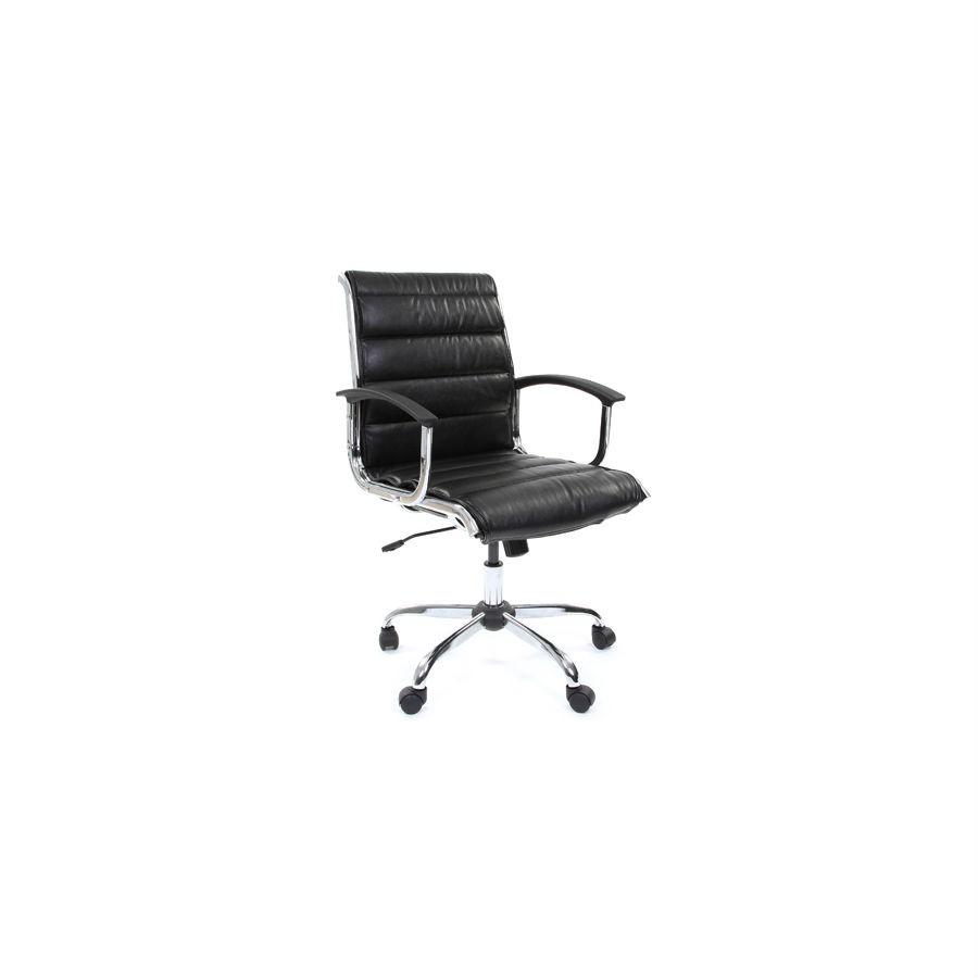 Офисное кресло Chairman 760M экокожа чёрныйСтильное офисное кресло&amp;nbsp;выполнено&amp;nbsp;в строгом стиле, обитое экококожей. Благородная расцветка выгодно подчеркнёт строгий офисный стиль, а присутствие хромированных элементов добавляет шика. Кресло легко подстроится под любую комплекцию, а наличие функции качания с фиксацией в нужном положении обеспечит комфорт на весь день.&amp;nbsp;Подлокотники из хрома для большего удобства&amp;nbsp;отделаны пластиковыми накладками.<br>