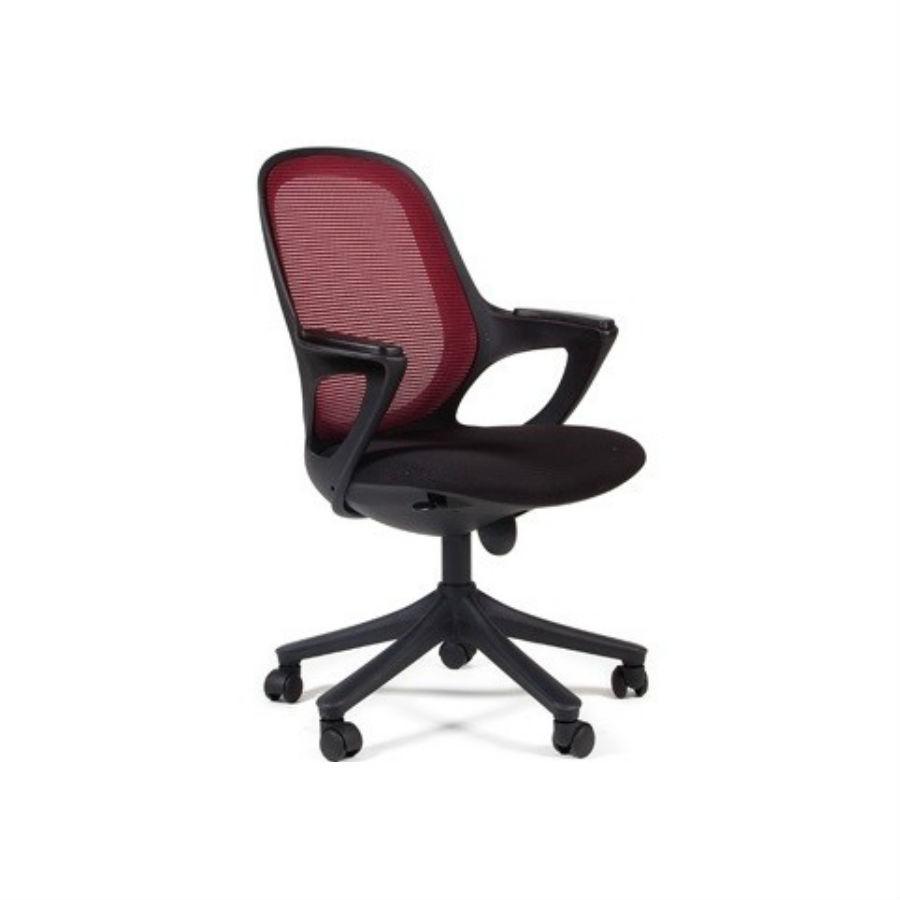 Офисное кресло Chairman 820 чёрный пластик DW 08 красныйНеобычный внешний вид и яркая расцветка делают это кресло незаменимым акцентом при оформлении офиса. Отлично подойдёт как для&amp;nbsp;строгого офисного стиля, так и для нестандартного. Кресло с лёгкостью подстроится под вес пользователя и подарит ему максимальный комфорт. Функция качания обеспечит наиболее оптимальную поддержку спины на протяжении всего дня. Кресло обтянуто сетчатым акрилом - тканью, неприхотливой в уходе.<br>
