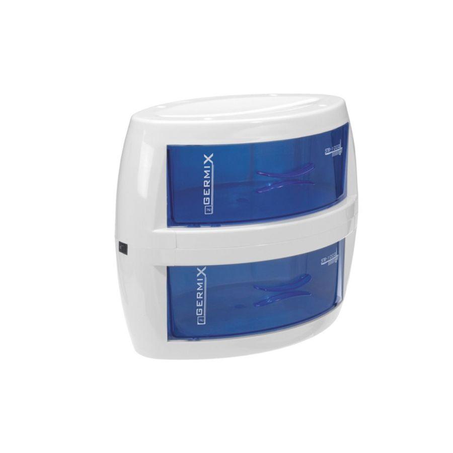 Двухкамерный УФ бокс GermixБокс Germix &amp;ndash; это прибор для хранения парикмахерского, педикюрного и маникюрного инструмента, оснащенный ультрафиолетовыми лампами для сохранения стерильности приборов. Этот прибор имеет два бокса для хранения, что позволяет хранить отдельно два комплекта инструмента, например, для стрижки и маникюра. Этот бокс обладает сдержанным дизайном, прост в использовании и не занимает много рабочего пространства.<br>