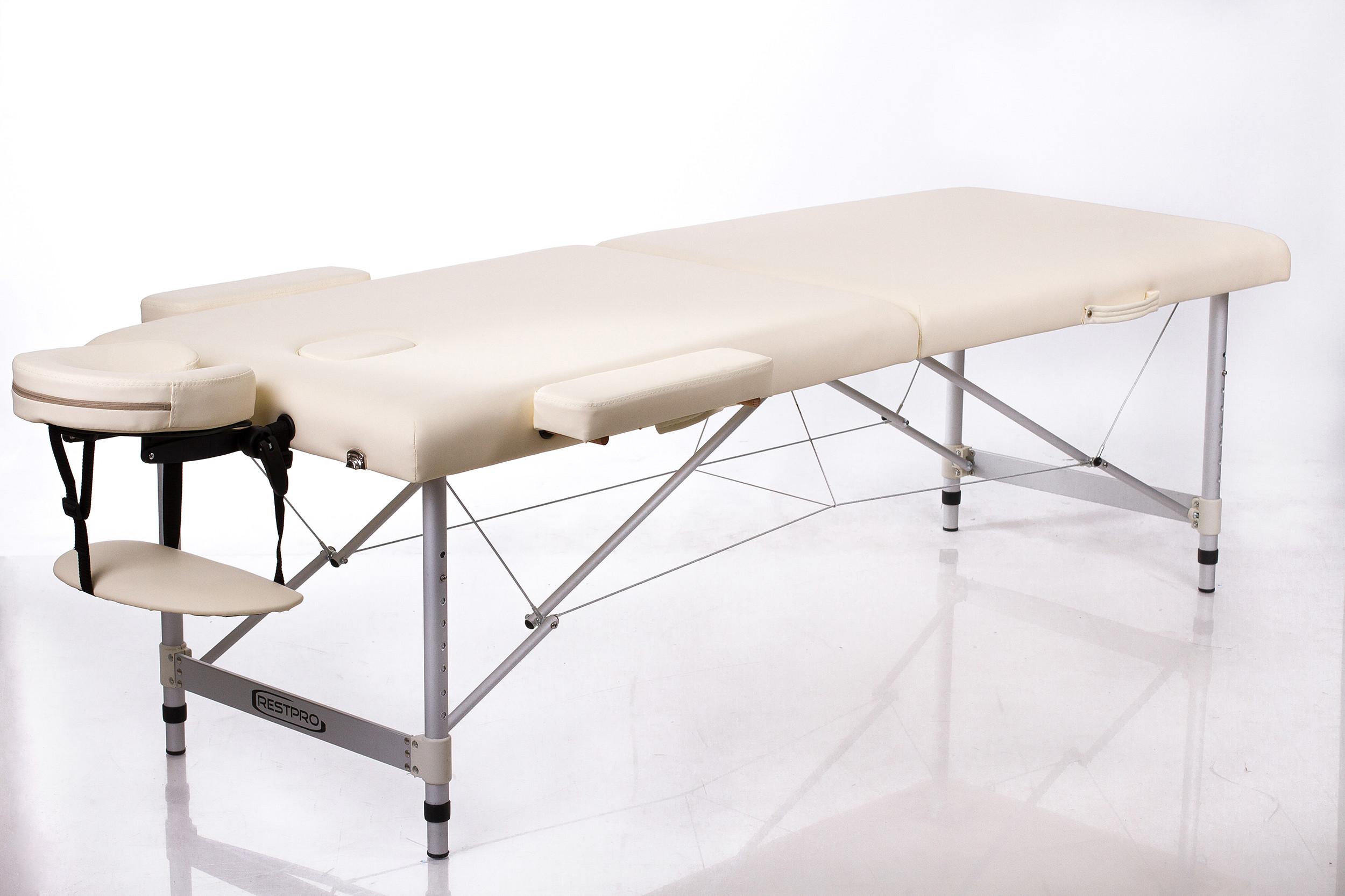 Складной массажный стол Restpro ALU2 (L)-CreamАлюминиевый профессиональный складной массажный стол (массажная кушетка). Стол ALU подходит для: всех видов массажа,&amp;nbsp;акупунктуры, косметических процедур, лимфодренажа, рефлексотерапии.<br>