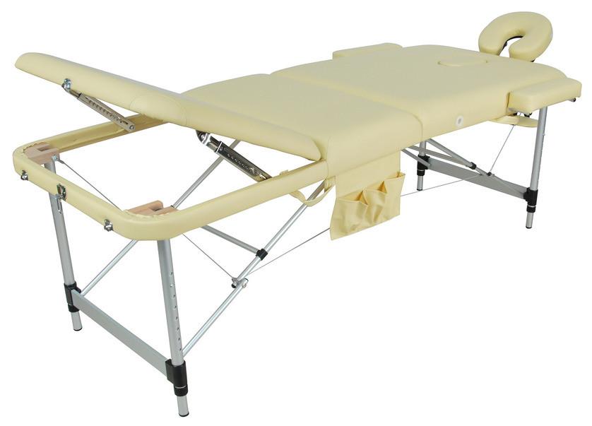 Складной массажный стол Med-Mos JFAL01A (МСТ-102Л) (3 секции) бежевыйСкладной массажный стол JFAL01A (МСТ-102Л) &amp;ndash; отличное оборудование для стационарного и выездного массажа. Благодаря современному дизайну, стол прекрасно впишется в любой интерьер массажного кабинета. С помощью раскладного механизма оборудование легко складывается и раскладывается. Это позволяет без труда переносить стол от клиента к клиенту.&#13;<br>&#13;<br>Рама модели выполнена из алюминия, обивка &amp;ndash; винил-люкс, наполнитель &amp;ndash; поролон, толщиной 6 см.<br>