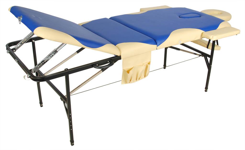 Складной массажный стол Med-Mos JFST02 new Синий с бежевой волнойСкладной массажный стол JFST02 new отличается прочностью, комфортом, функциональностью. Модель предназначена для профессиональных массажистов, которые практикуют стационарные и выездные сеансы массажа. Хотя вес оборудования не слишком легкий, оно прекрасно складывается и транспортируется.&amp;nbsp;&#13;<br>&#13;<br>Трехсекционный стол выдерживает нагрузку до 130 кг. Изделие выполнено из стали, поверхность обита материалом винил-люкс, наполнение &amp;ndash; поролон толщиной 4 см.<br>
