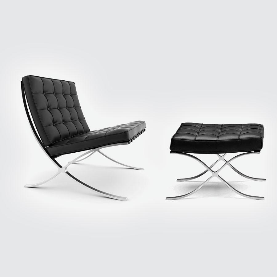 Кресло Barcelona Style Chair &amp; Ottoman черныйКресла Барселона от Ludwig Mies Van der Rohe покорили мировой подиум на Международной выставке, проводимой в 1929 году в Испании. Уже более 80 лет эта эксклюзивная мебель по праву считается настоящим шедевром модерна XX века, априори занимая почетное место в лучших дизайнерских интерьерах. Кресло Barcelona было специально создано дизайнером Людвигом Мис Ван дер Роэ для немецкого выставочного павильона в Барселоне в 1929 году.<br>
