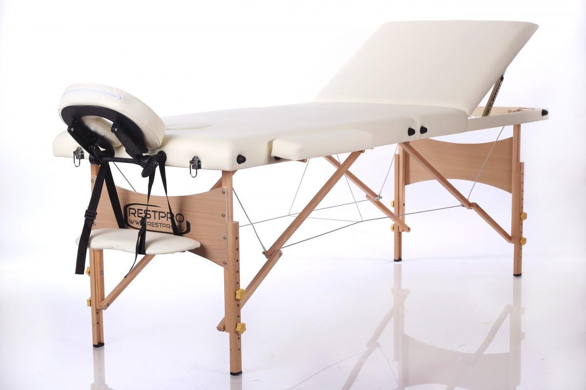 Cкладной массажный стол Restpro Classic 3 CreamСкладной профессиональный массажный стол на основе из натурального немецкого бука является одним из самых легких портативных столов для массажа и идеально подойдет для проведения массажных процедур в домашних условиях и в офисе. Для материала каркаса и ножек данного стола были использованы прочные породы дерева семейства дубовых &amp;ndash; бук, что делает эту модель более прочной и устойчивой.<br>