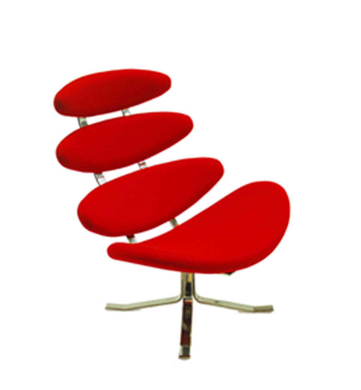 Кресло Scott Howard Poul Volther Style Corona Chair &amp; Ottoman красная кожаПо настоящему футуристичный дизайн, который даёт волю абстрактному мышлению. За основу идеи была взята форма облака газа в короне солнца. Но если приглядеться, может показаться, что это схема позвоночника. Каждый увидит то, что подскажет ему фантазия.<br>