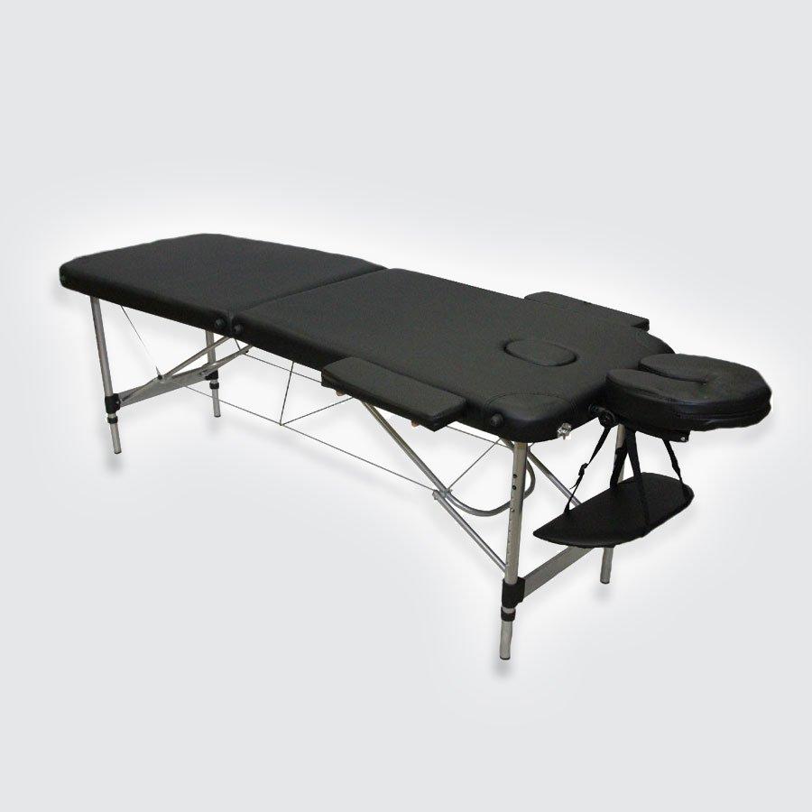 Складной массажный стол DFC 236 Relax черныйСкладной 2-х секционный переносной массажный стол DFC Relax изготовлен высококачественных компонентов. Материал обивки - поливинилхлорид высшего качества (HIGH QUALITY PVC) толщиной 0.90 мм. Высота стола регулируется в 8-ми положениях в диапазоне от 62 до 85,5 см.<br>