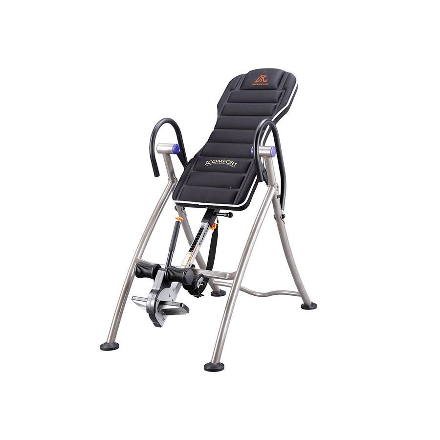Инверсионный стол DFC 75306Перед вами младшая модель в новой линейке инверсионных столов от компании DFC. Продуманная конструкция и прочные материалы рамы позволяют не переживать за свое здоровье, а нескользящие ножки удерживать тренажер при любых нагрузках. Мягкая спинка обеспечит комфорт во время тренировки.&amp;nbsp;&#13;<br>&#13;<br>Фиксация положения происходит с помощью специального ремня. Он затягивается до нужного уровня, и тренажер останавливается в определенном положении. Ремень располагается в задней части спинки стола.<br>