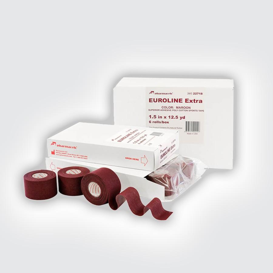 Кинезио тейп Pharmacels EUROLINE Extra Tape maroon (6 рулонов)55% чистого хлопка обеспечивают легкость и гигроскопичность, 45% полиэстра гарантируют прочность и надежность.&amp;nbsp;Повязка созданная из Pharmacels&amp;reg; Euroline Extra Tape очень прочная, монолитная, гарантирующая функциональную эффективность в течение всего времени использования независимо от окружающих условий (и в помещении и вне помещения) и летом и зимой.&amp;nbsp;Легко отрывается от рулона, ровно без рывков и с немного увеличенным усилием разматывается.<br>
