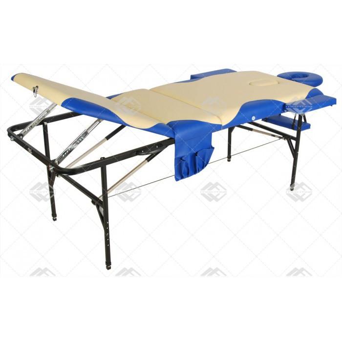 Складной массажный стол Med-Mos JFST02 new Бежевый с синей волнойСкладной массажный стол JFST02 new отличается прочностью, комфортом, функциональностью. Модель предназначена для профессиональных массажистов, которые практикуют стационарные и выездные сеансы массажа. Хотя вес оборудования не слишком легкий, оно прекрасно складывается и транспортируется.&#13;<br>&#13;<br>Трехсекционный стол выдерживает нагрузку до 130 кг. Изделие выполнено из стали, поверхность обита материалом винил-люкс, наполнение &amp;ndash; поролон толщиной 4 см.<br>