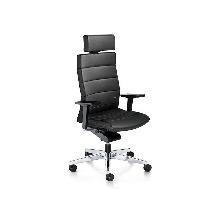 Кресло Scott Howard Interstuhl CHAMP черное кожаное (высокая спинка)Уникальной особенностью кресла CHAMP является запатентованный механизм Body Float. Благодаря ему постоянно поддерживается оптимальный угол наклона. Необычная обшивка сиденья создаёт индивидуальный микроклимат, позволяя воздуху свободно циркулировать. Величественный внешний вид создаётся за счёт высокой спинки и подголовника.<br>