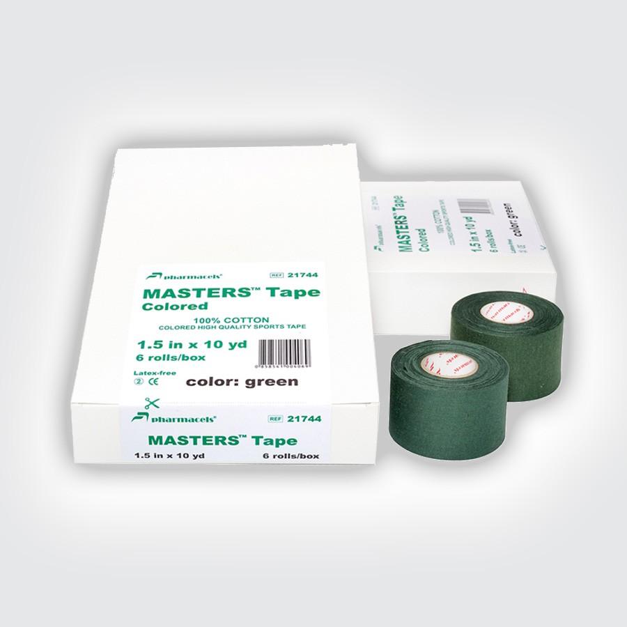 Кинезио тейп Pharmacels MASTERS Tape Colored (6 рулонов) зеленыйCпортивный цветной тейп, выполнен из 100% хлопка. Легко отрывается, легко разматывается, не отклеивается. Не тянется, не образует складок. Идеален для быстрого тейпирования и создания повязок в цветах команды. Широкий ассортимент цветов. Экстра устойчивый краситель не оставляет следов, не линяет.<br>