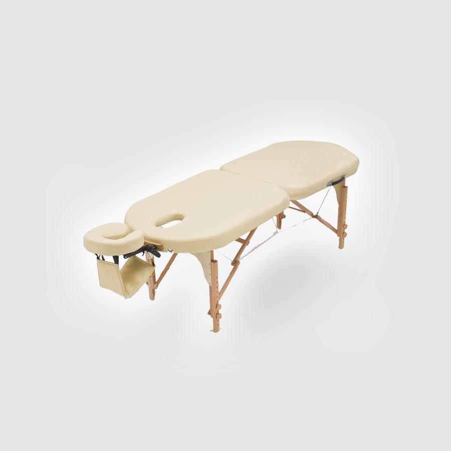 Cкладной массажный стол Med-Mos JF-OvalМассажный стол легко и быстро трансформируется в чемодан. Основа - многослойная легкая фанера. Рама - бук. Поверхность - высокачественный винил. Наполнение - плотный пенополиуретан толщиной 5 см. Цвет - бежевый, синий. Регулировка по высоте. В комплекте: съемный, регулируемый подголовник, подставка для рук.<br>