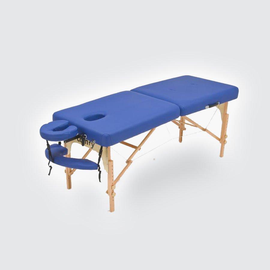 Cкладной массажный стол Med-Mos JFMS05-7Массажный стол легко и быстро трансформируется в чемодан. Основа - многослойная легкая фанера. Рама - бук. Поверхность - высокачественный винил. Наполнение - плотный пенополиуретан толщиной 5 см. Цвет - бежевый, синий. Регулировка по высоте. В комплекте: съемный, регулируемый подголовник, подставка для рук.<br>