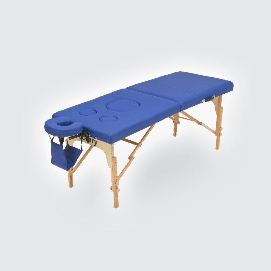 Cкладной массажный стол Med-Mos JFMS05DМассажный стол с закрывающимися вырезами для живота и груди беременных женщин легко и быстро трансформируется в чемодан. Основа - многослойная легкая фанера. Рама - бук. Поверхность - высокачественный винил. Наполнение - плотный пенополиуретан толщиной 5 см. Цвет - бежевый, синий. Регулировка по высоте. В комплекте: съемный, регулируемый подголовник, подставка для рук.<br>
