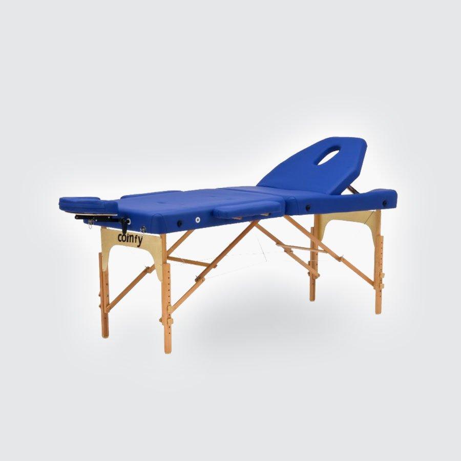 Складной массажный стол Med-Mos JFMS09C/BRМассажный стол легко и быстро трансформируется в чемодан. Основа - многослойная легкая фанера. Рама - бук. Поверхность - высокачественный винил. Наполнение - плотный пенополиуретан толщиной 5 см. Цвет - бежевый, синий. Регулировка по высоте. В комплекте: подлокотники, съемный, регулируемый подголовник, подставка для рук.<br>