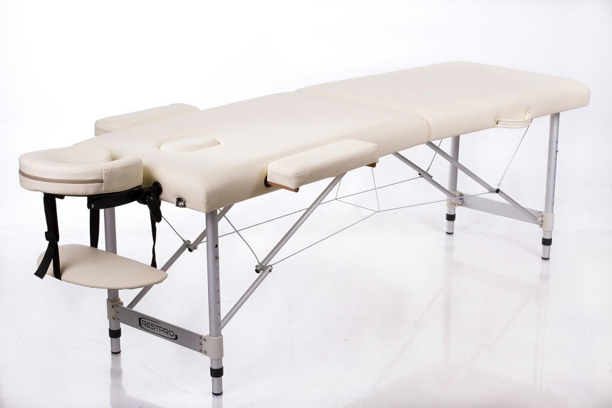 Складной массажный стол Restpro ALU2 (S) CreamАлюминиевый профессиональный складной массажный стол (массажная кушетка). Стол ALU подходит для: всех видов массажа, акупунктуры, косметических процедур, лимфодренажа, рефлексотерапии.<br>
