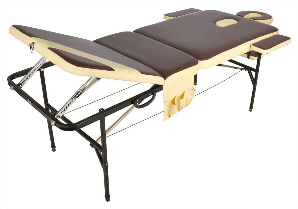 Складной массажный стол Med-Mos JFST02 new Коричневый с бежевой полосой