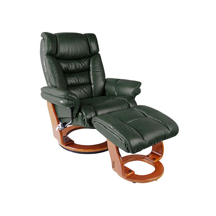 Кресло-реклайнер Relax Zuel 7582W кожа - зеленый / дерево- светло-коричневый от Relax-market