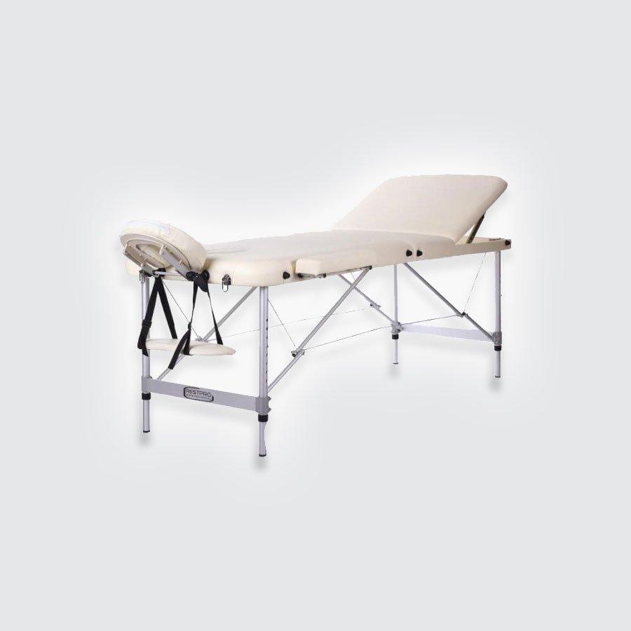 Складной массажный стол Restpro ALU3Алюминиевый профессиональный складной массажный стол (массажная кушетка). Стол ALU подходит для: всех видов массажа,&amp;nbsp;акупунктуры, косметических процедур, лимфодренажа, рефлексотерапии.<br>