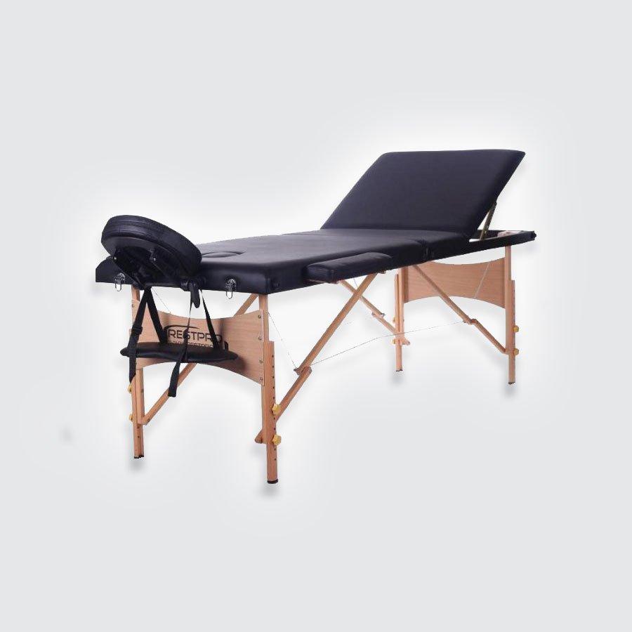 Cкладной массажный стол Restpro Classic 3 BlackСкладной профессиональный массажный стол на основе из натурального немецкого бука является одним из самых легких портативных столов для массажа и идеально подойдет для проведения массажных процедур в домашних условиях и в офисе. Для материала каркаса и ножек данного стола были использованы прочные породы дерева семейства дубовых &amp;ndash; бук, что делает эту модель более прочной и устойчивой.<br>