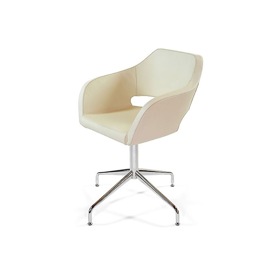 Дизайнерское кресло Scott Howard Bosa кремовая кожаОтличное решение для оформления переговорной в офисе. Кресло Bosa придаст любому интерьеру строгости и солидности. А элегантная форма не останется не замеченной. Отличная эргономика позволяет комфортно располагаться. несмотря на скромные размеры кресло способно выдержать нагрузку в 125 кг.<br>