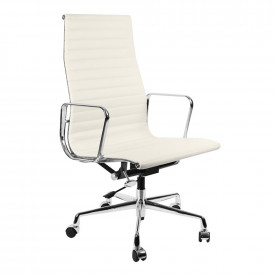 Кресло Eames Style HB Ribbed Office Chair EA 119 белая кожа